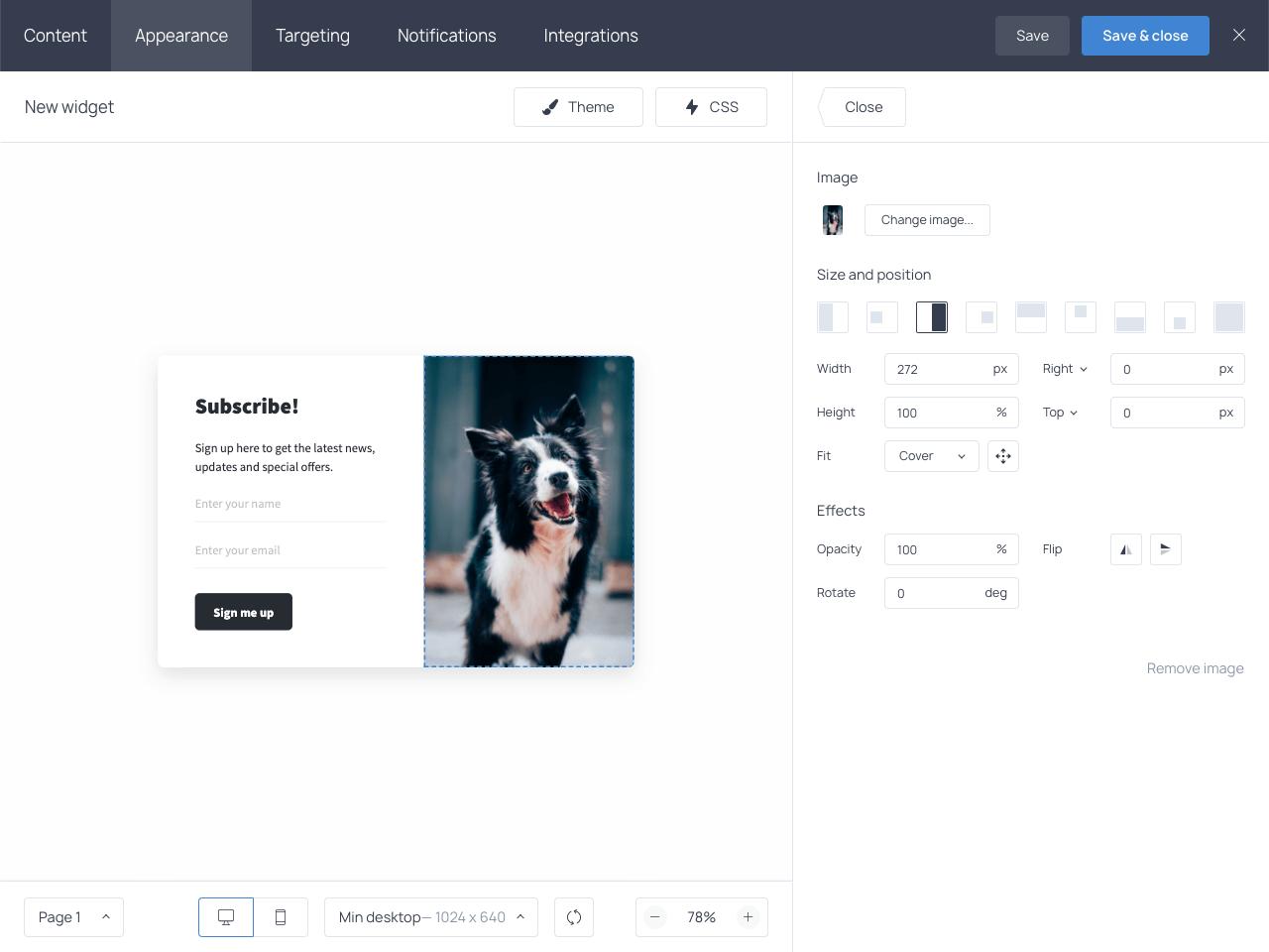 Showcasing user-friendly image settings in the Getsitecontrol dashboard