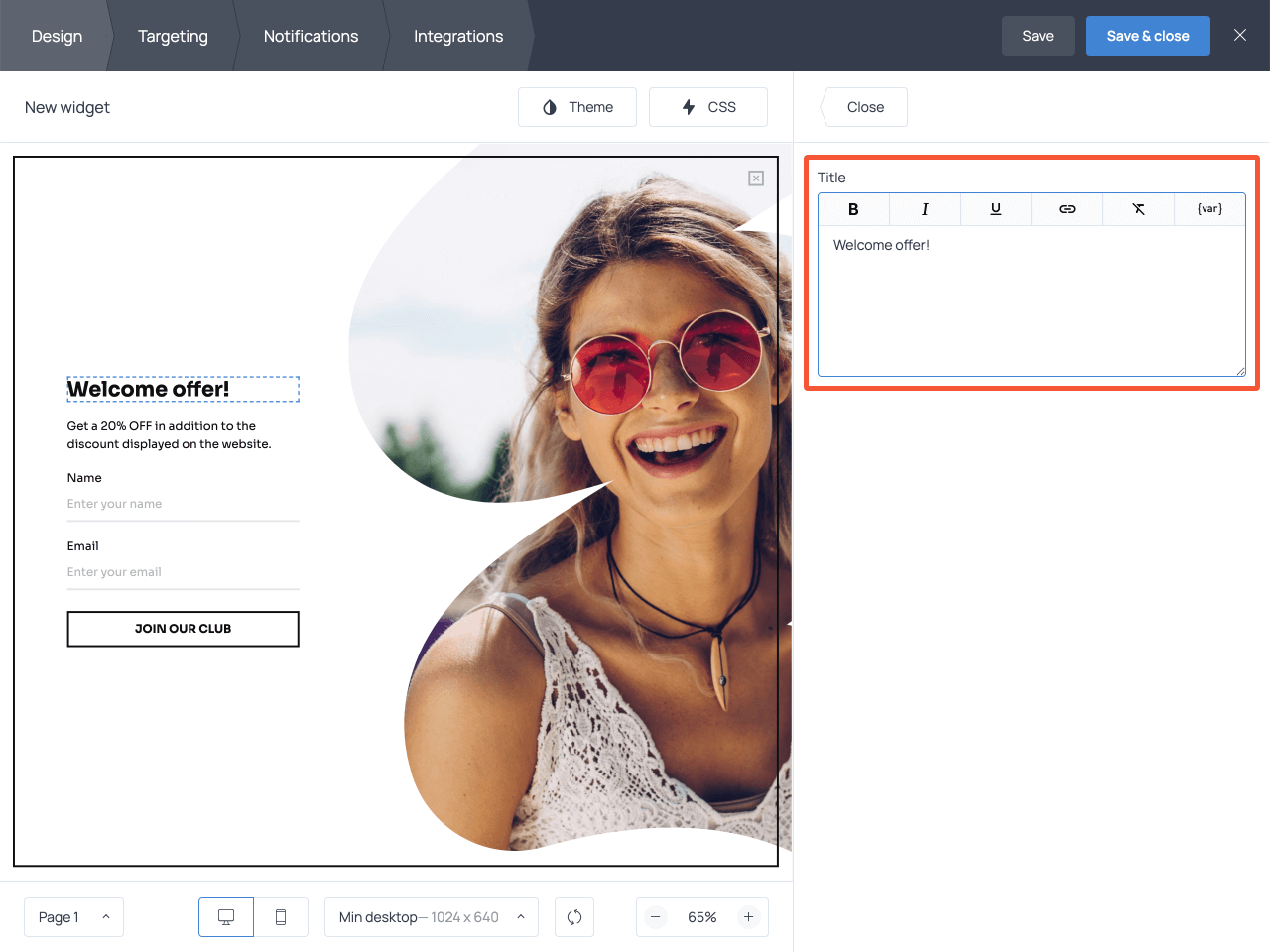 How to adjust the copy on a website overlay