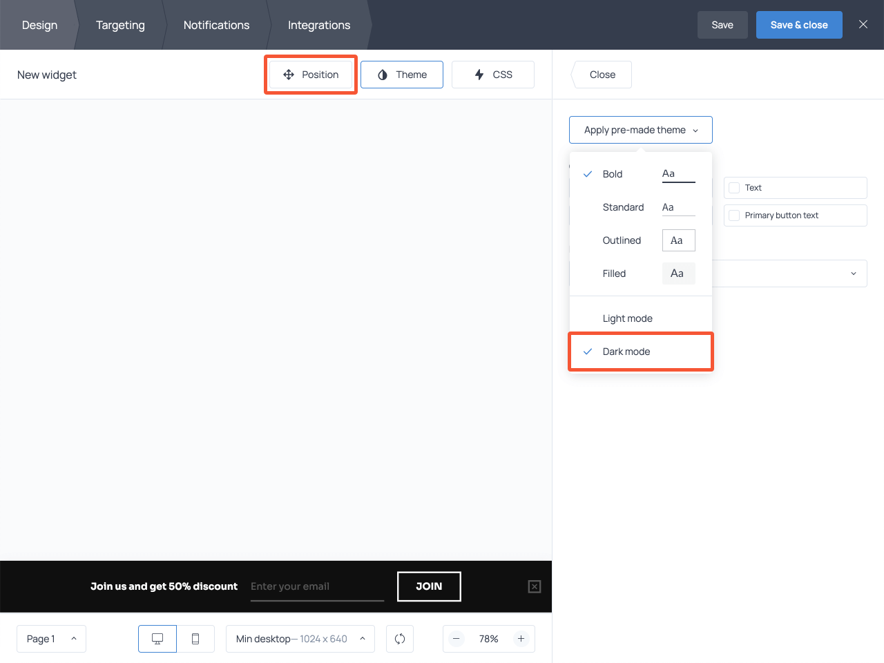 How to adjust the design of a floating email capture form in Getsitecontrol