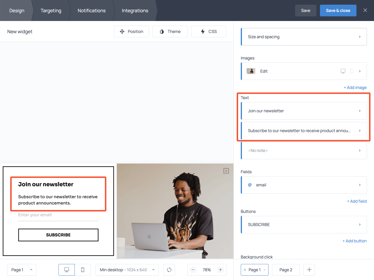 How to edit the copy on the email signup form in Getsitecontrol