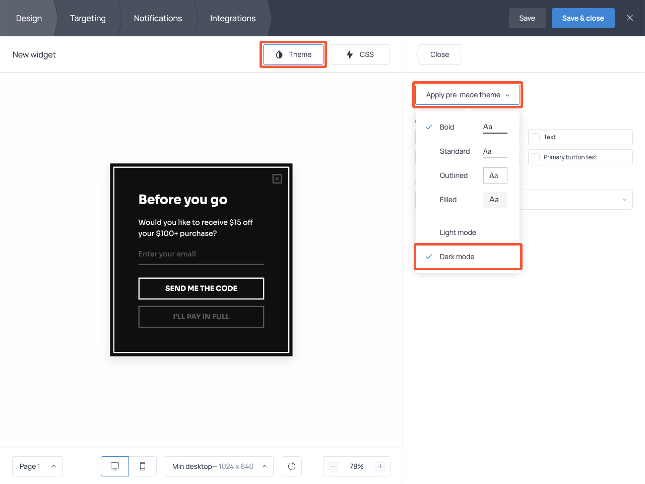 How to change the design of an exit-intent popup