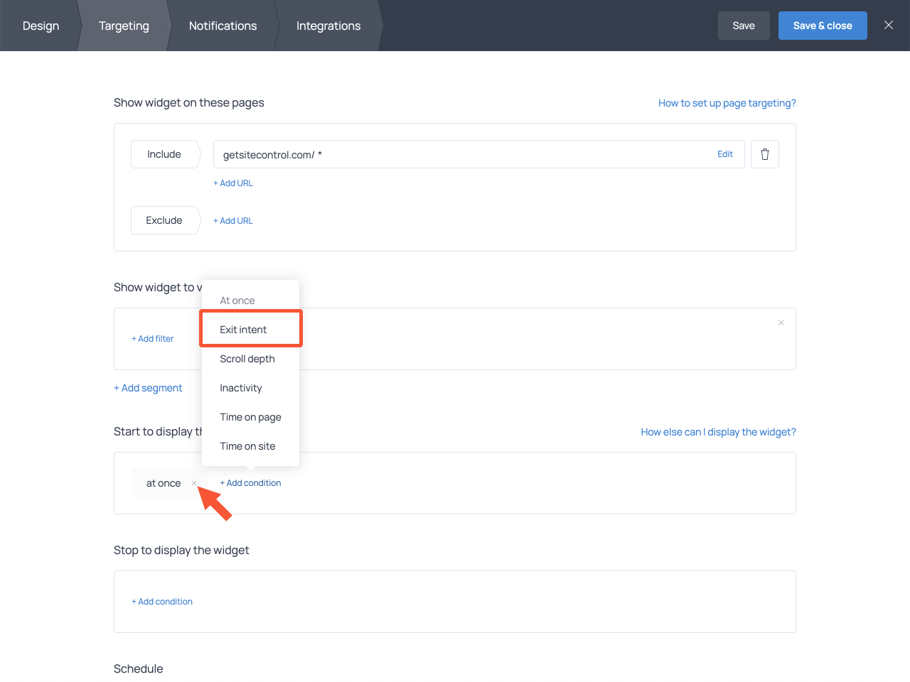 How to select the exit-intent trigger for a popup in Getsitecontrol