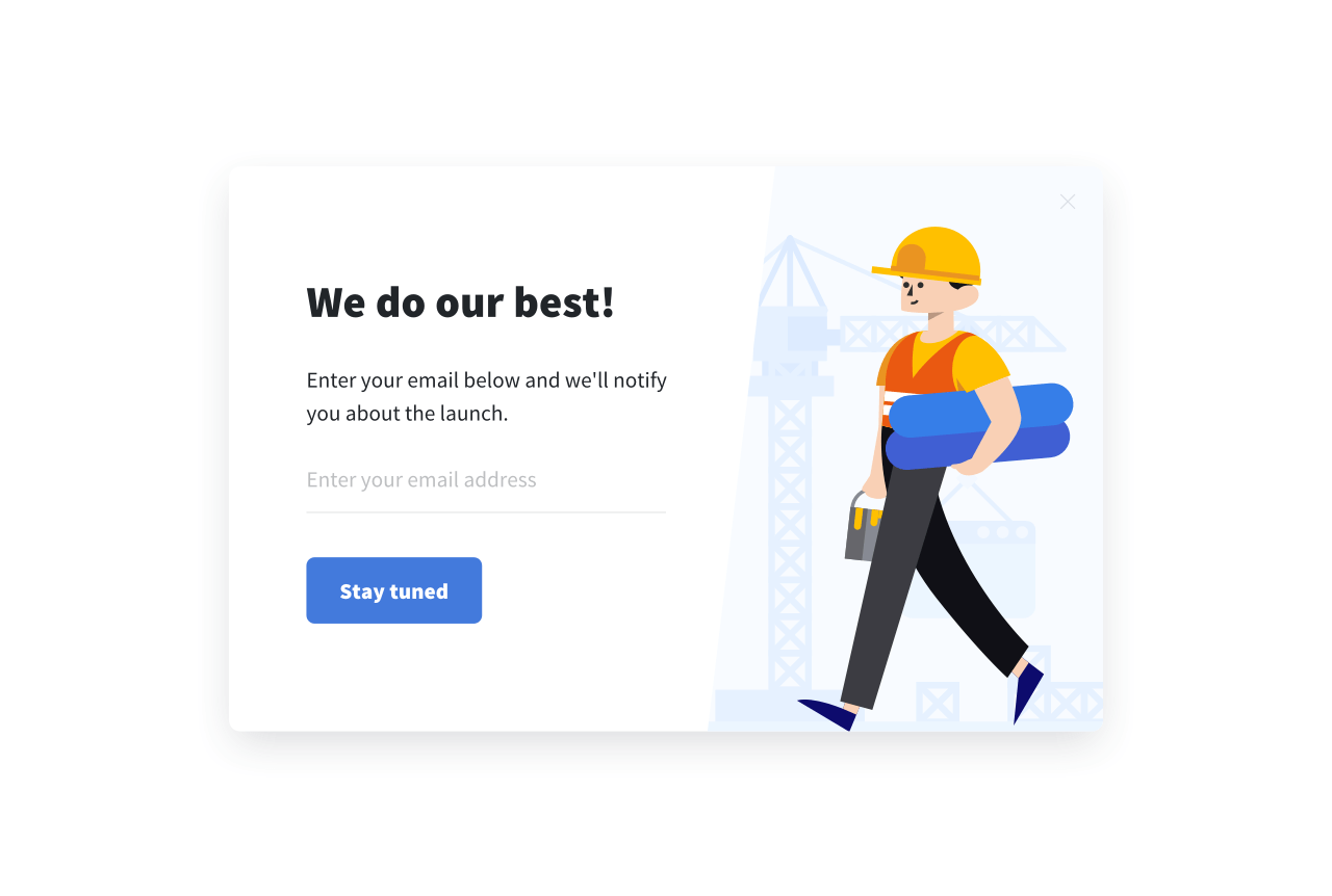 An email subscription form pop ups on a coming soon page