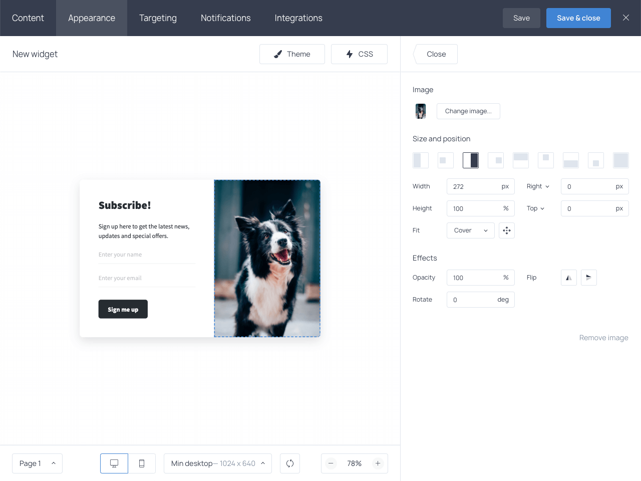 Showcasing user-friendly image settings in the Getsitecontrol dashboard