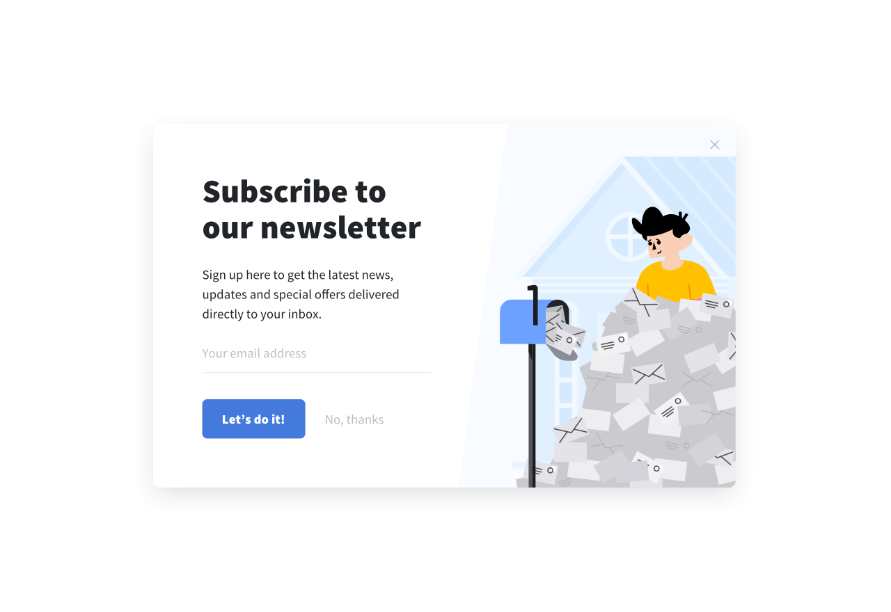 A simple opt-in popup form created in Getsitecontrol