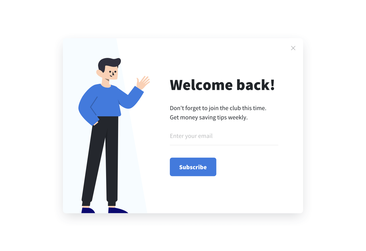 An example of a time-delayed opt-in popup