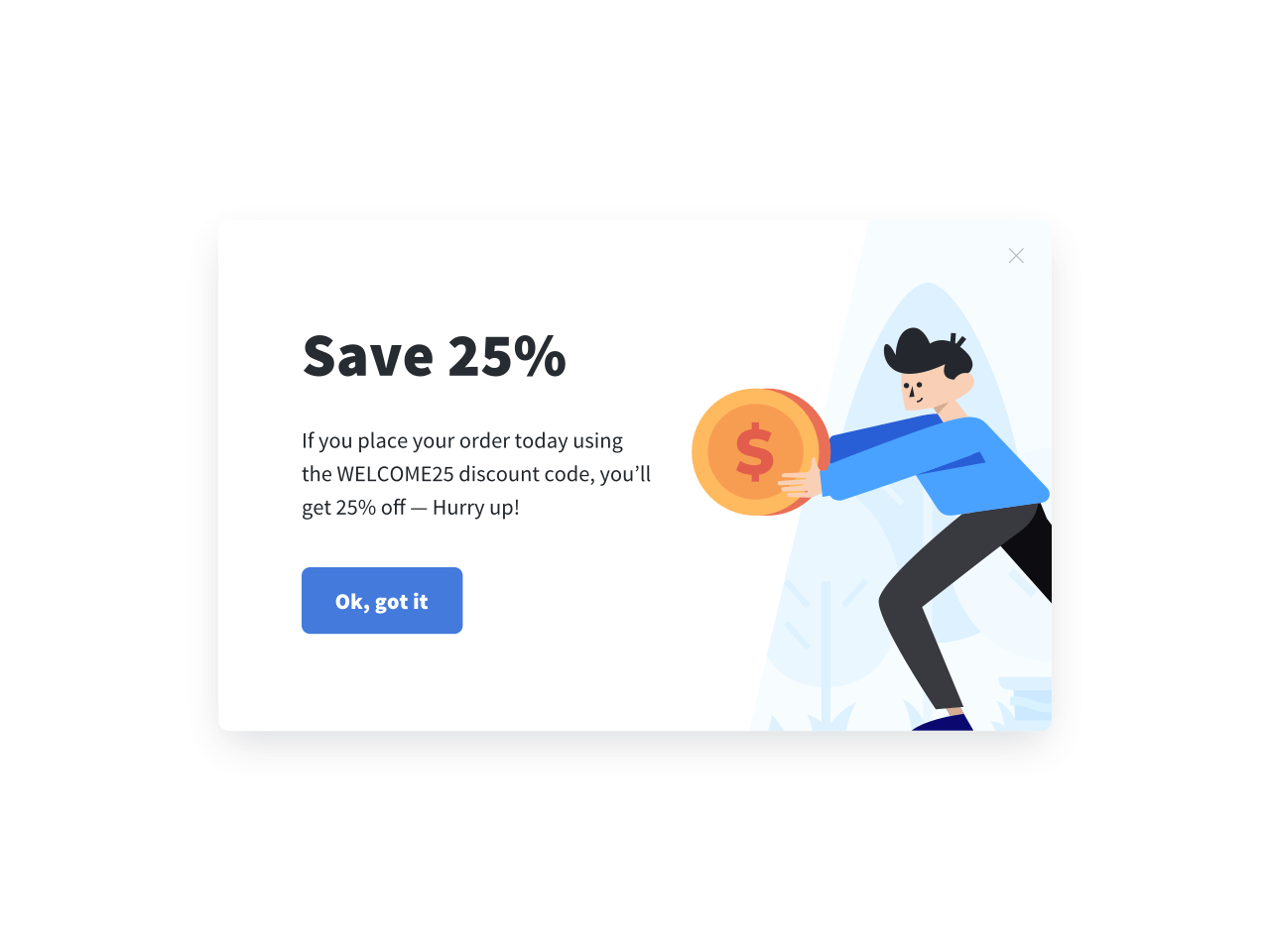 Modal popup with a discount offer as a lead magnet