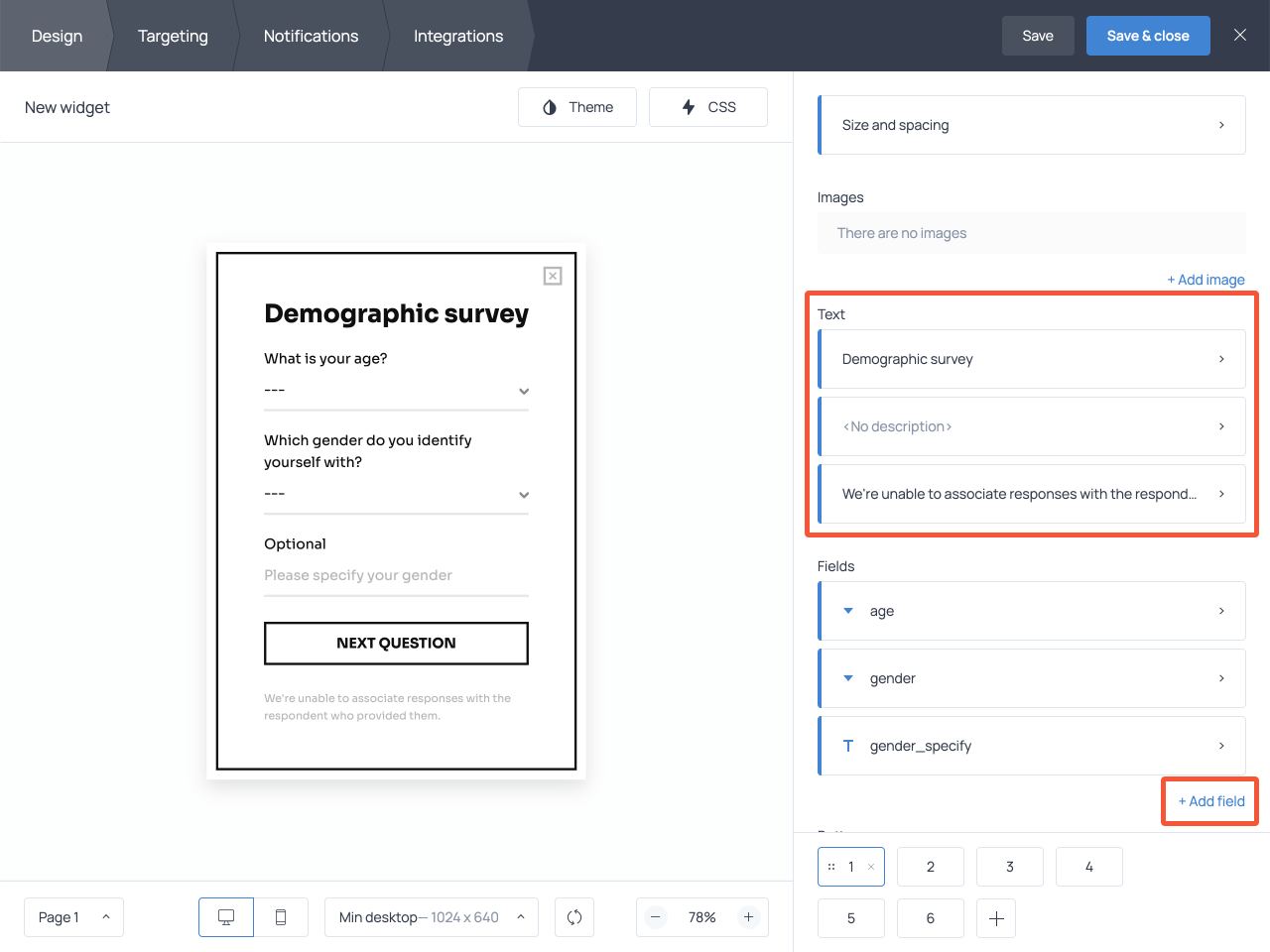 How to customize a survey form in Getsitecontrol