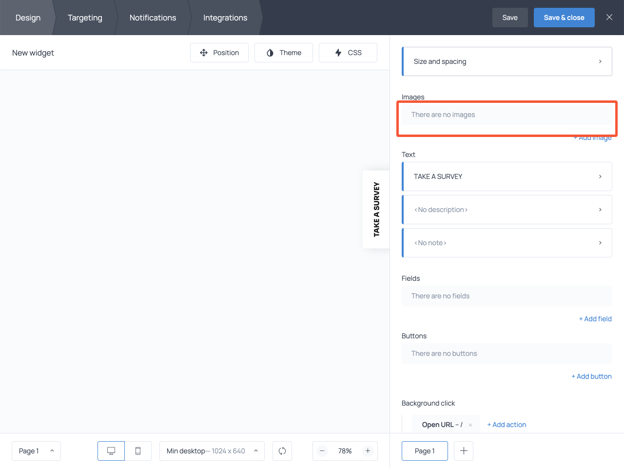 Floating take a survey button template powered by Getsitecontrol