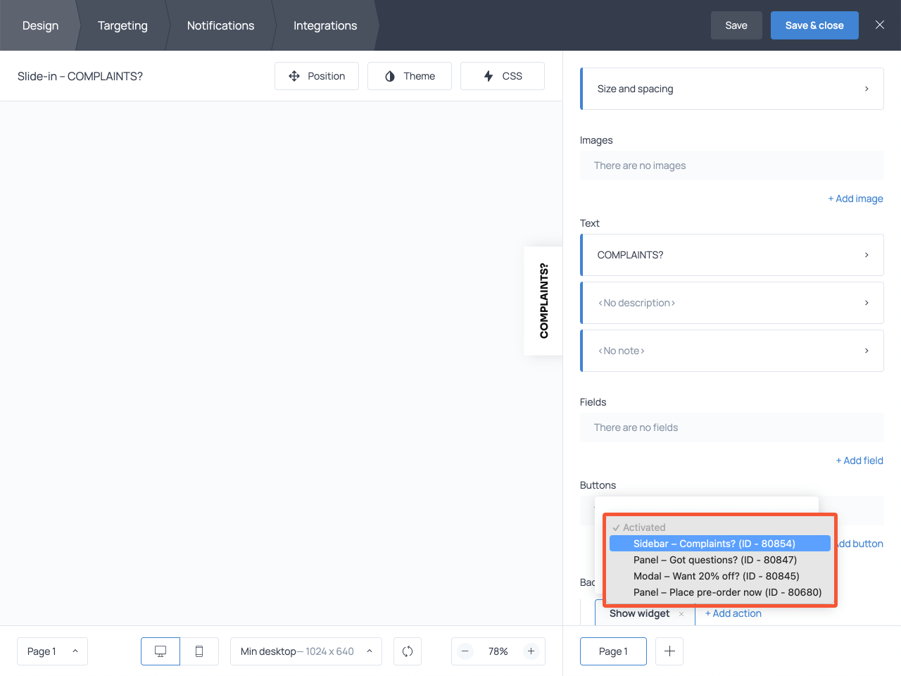 How to connect a floating complaint button and a form on a website
