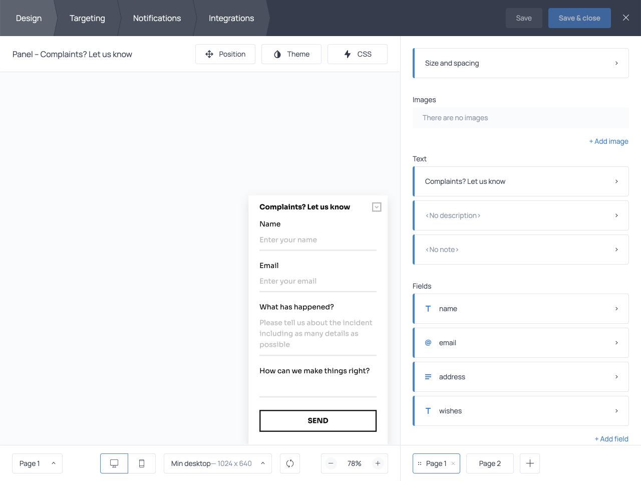 How to create a complaint form for a website using Getsitecontrol