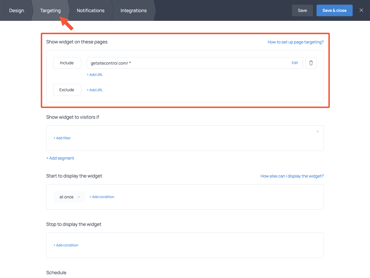 How to select pages where the complaint form should be displayed