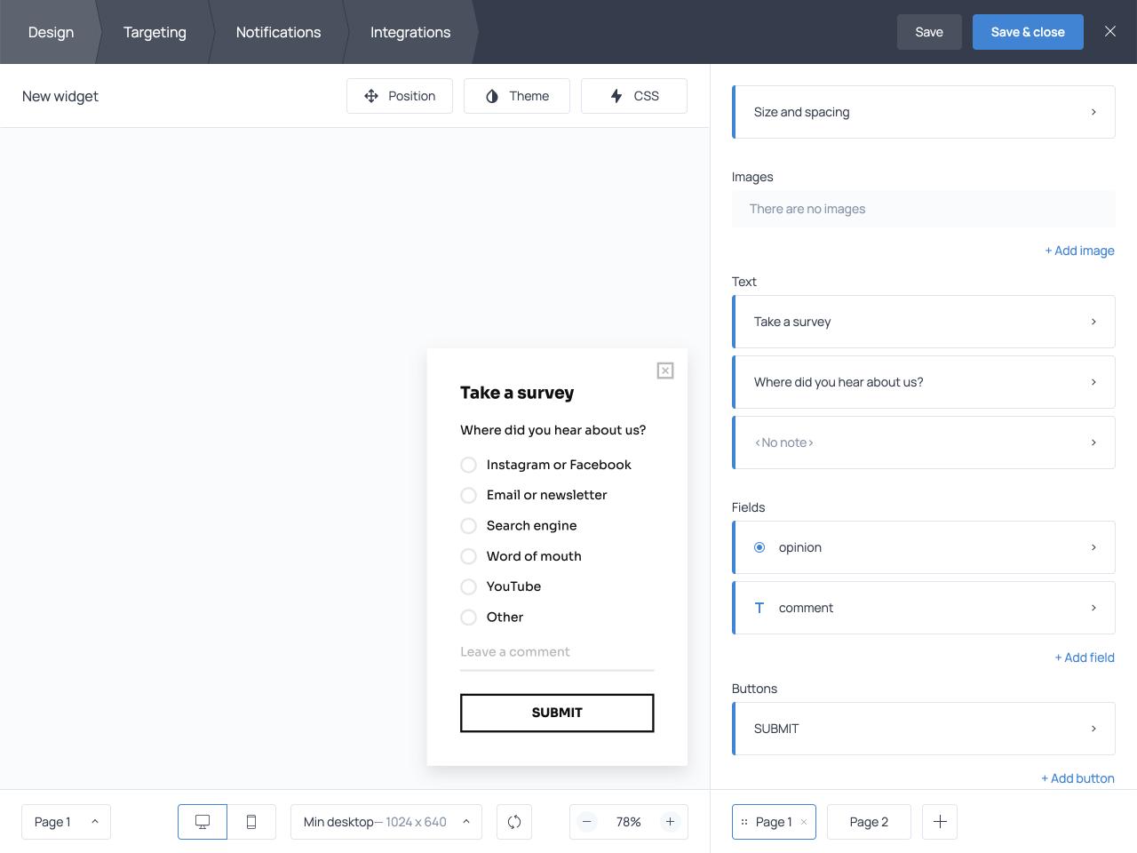 Popup targeting settings