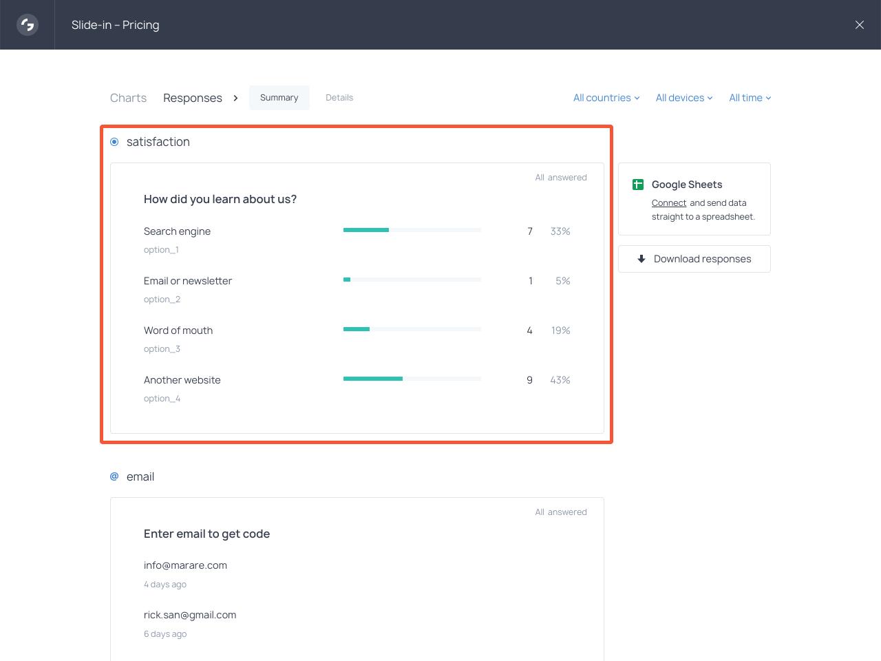 How to view survey responses in Getsitecontrol