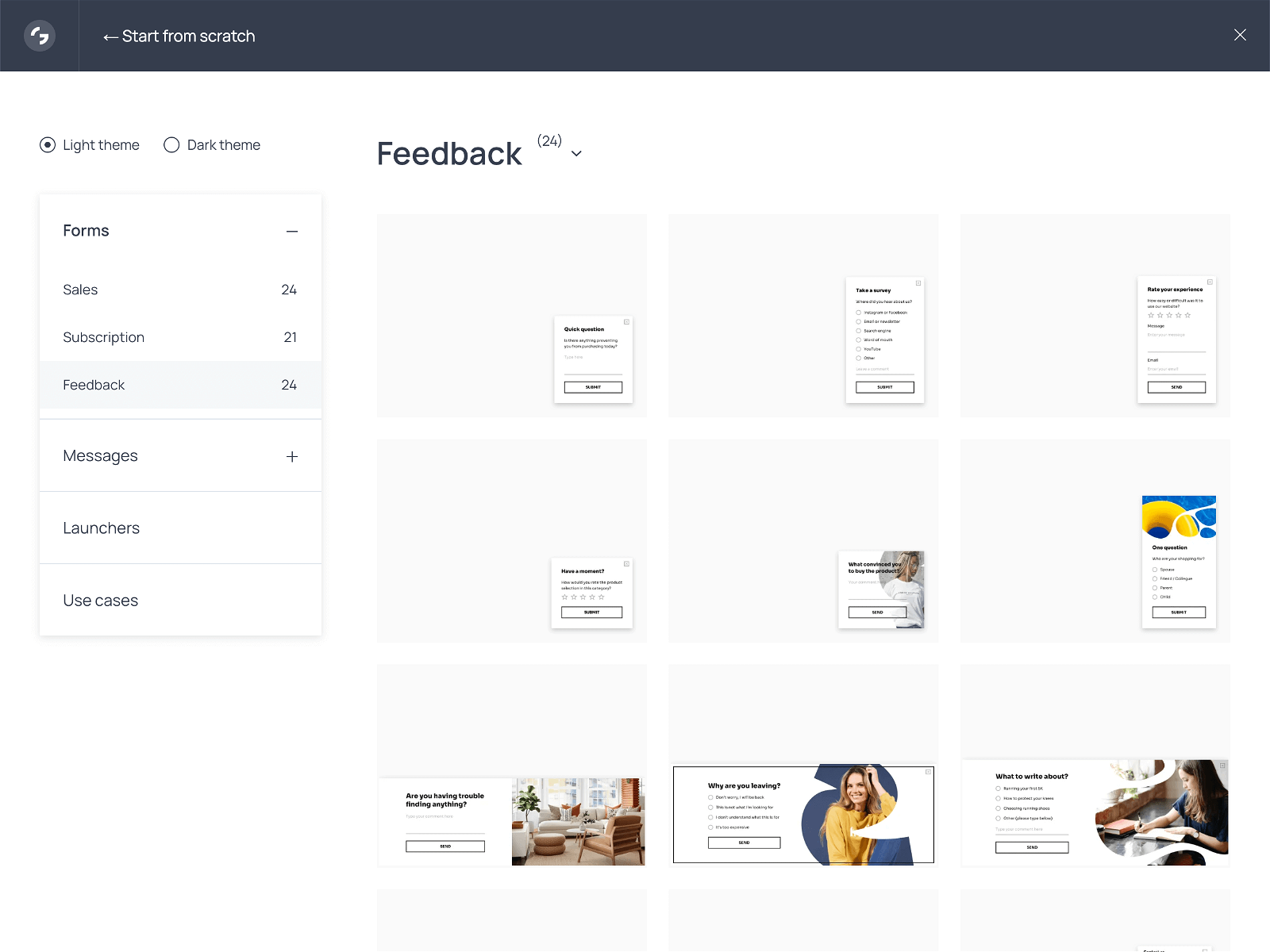 Large gallery of website survey popups available from the Getsitecontrol dashboard