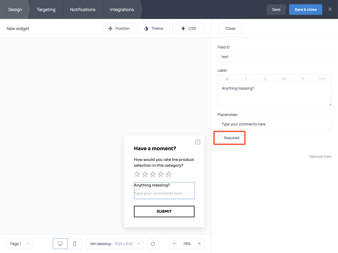 How to add a text field to a star rating scale survey