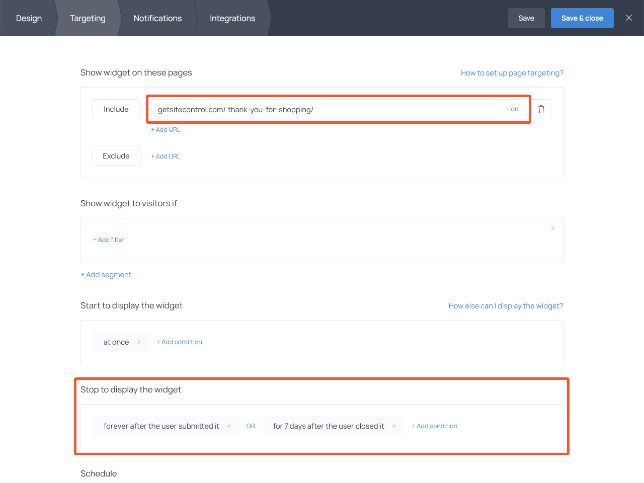 How to set up targeting rules for the star rating survey popup