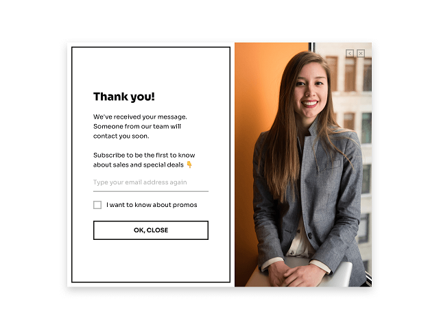 Form submission confirmation message with a call-to-action included