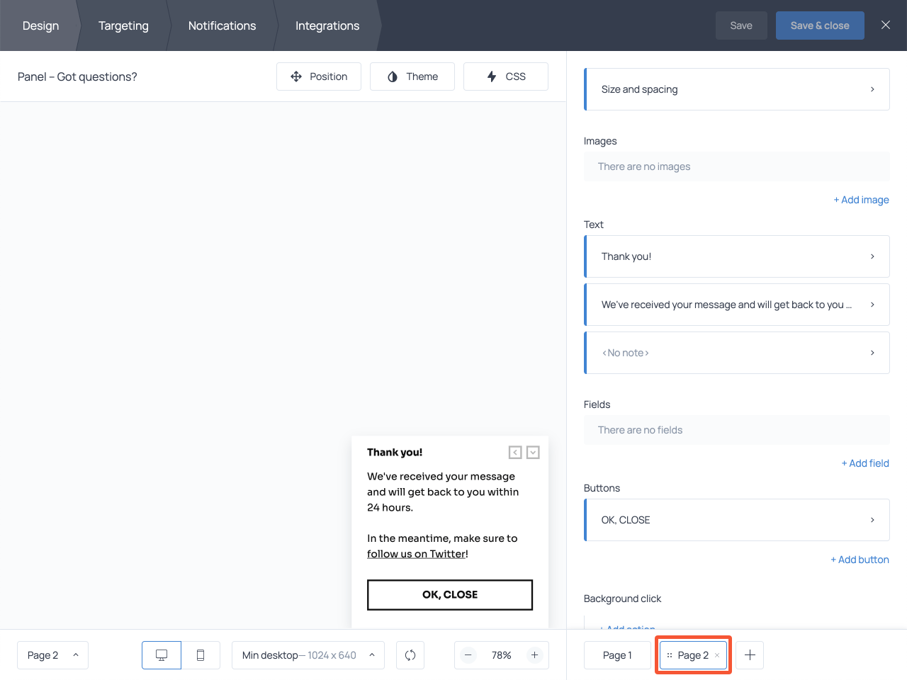 How to add a second page to the form to display a submission success message