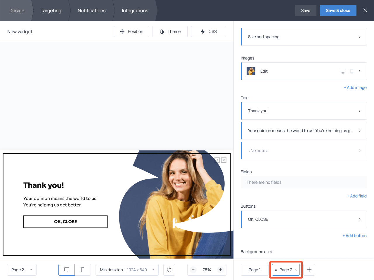 How to change the submission success page in a survey
