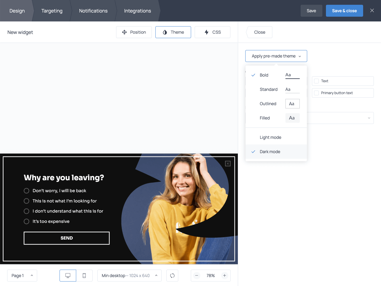 How to change a survey form style in Getsitecontrol