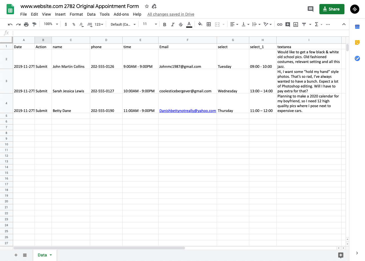 Contact form submissions downloaded in a spreadsheet document