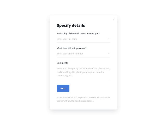 A Getsitecontrol appointment form example with a microcopy