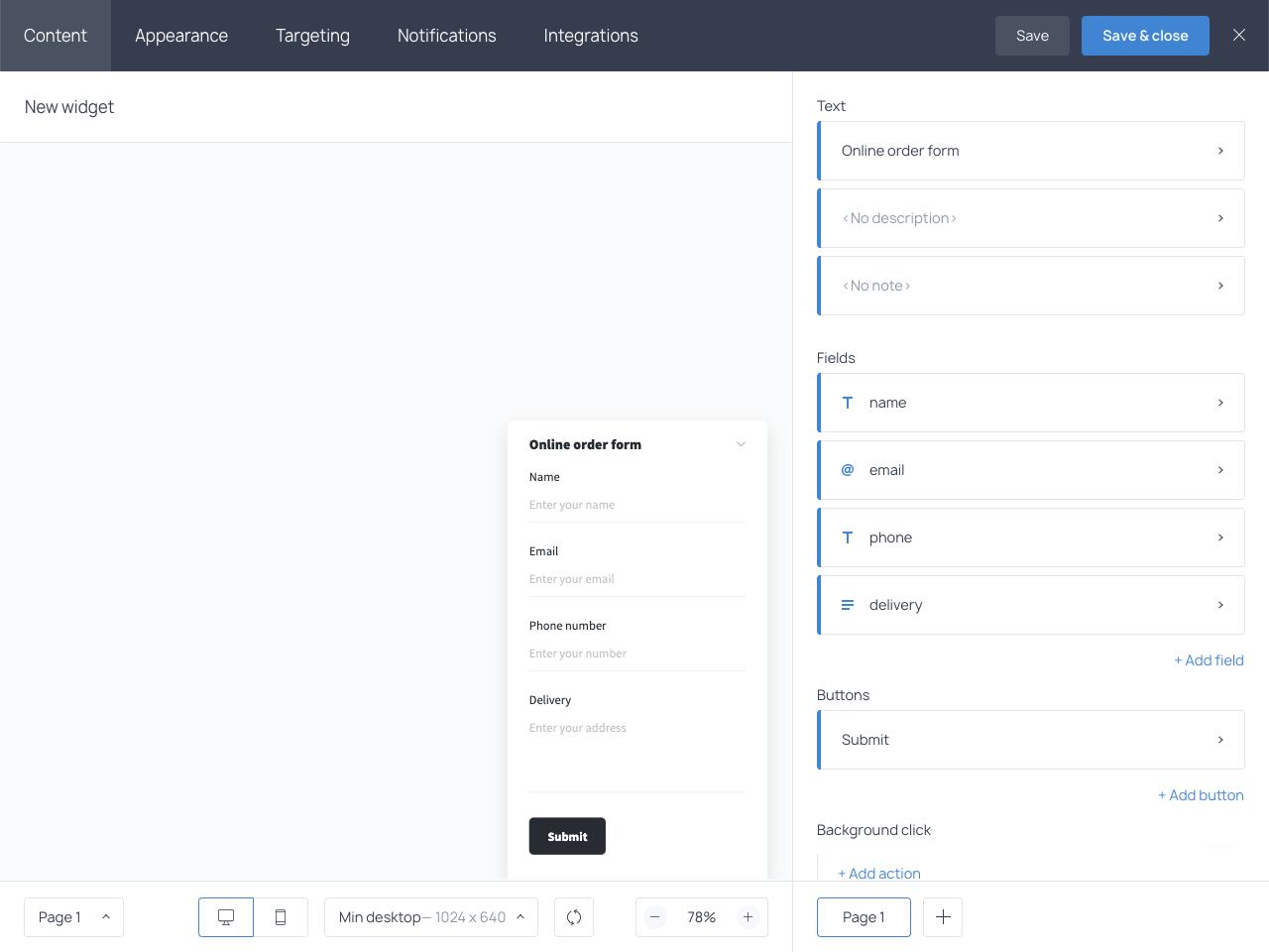 How to create a custom online order form in Getsitecontrol