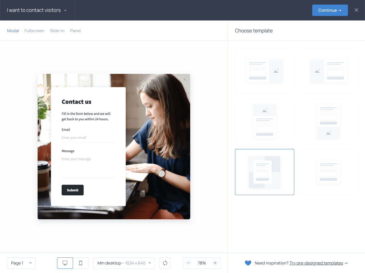 Contact form layout templates in Getsitecontrol