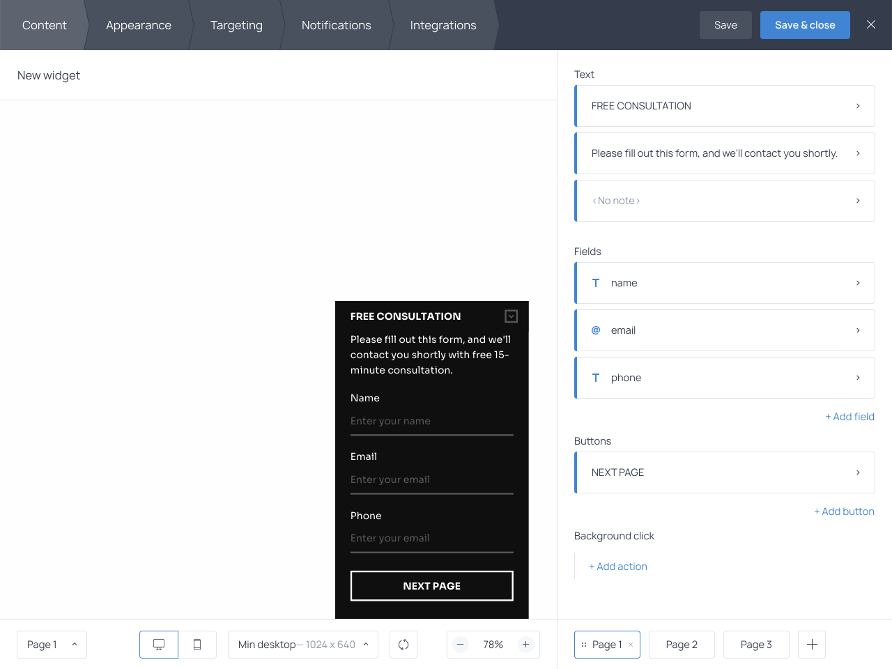 Getsitecontrol allows for creating a prospective client form within minutes