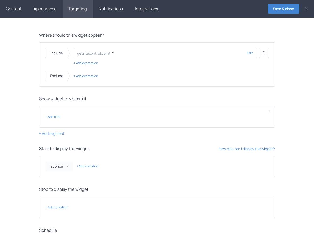 Getsitecontrol online form targeting options