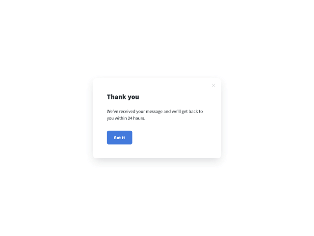 Submission success message for a service request form