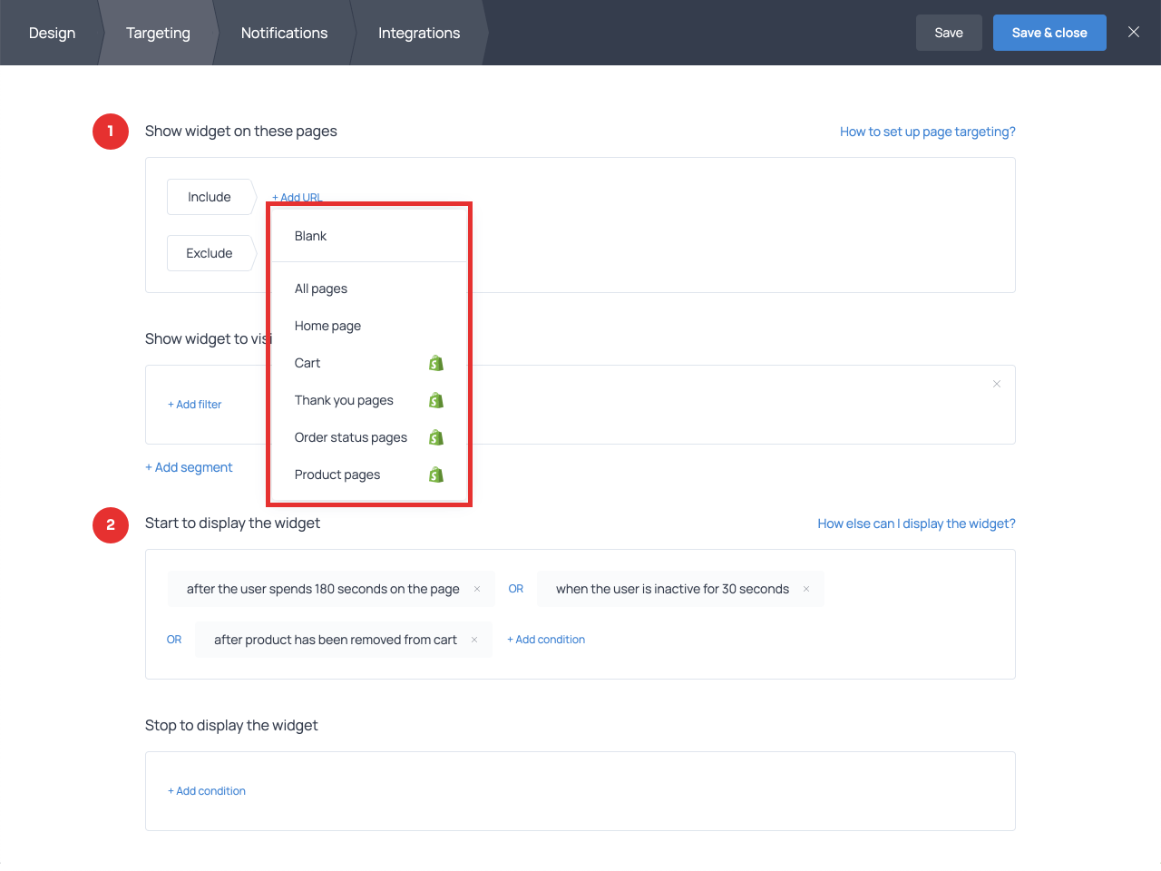 Decide when and where to display your survey using targeting settings