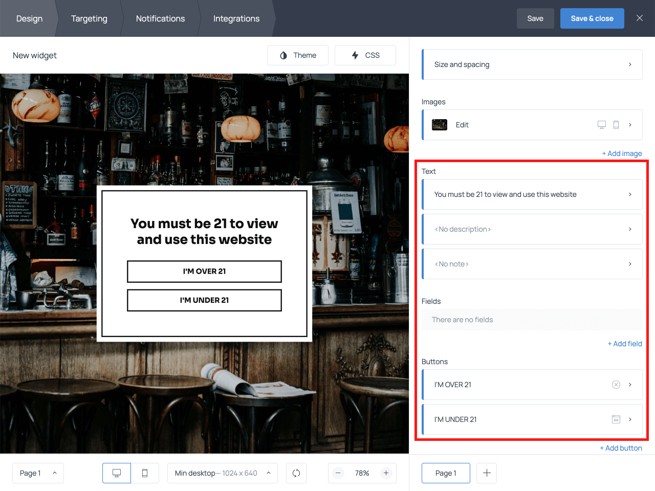 How to edit the copy on the age verification popup