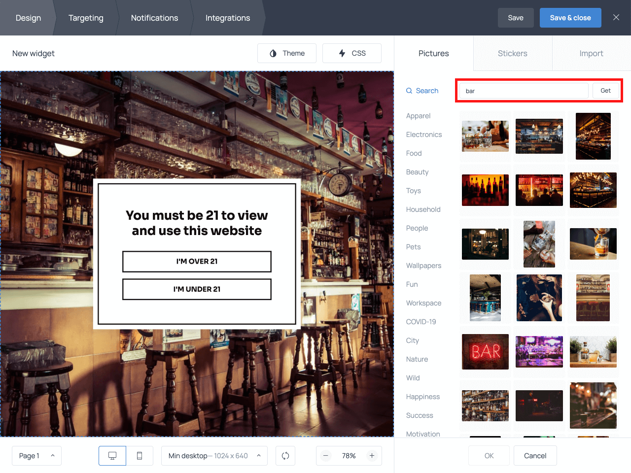 How to change the background image on the age verification popup