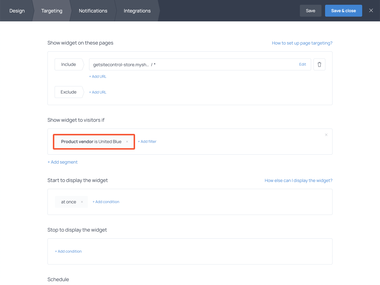 How to place a free shipping bar on select product pages only