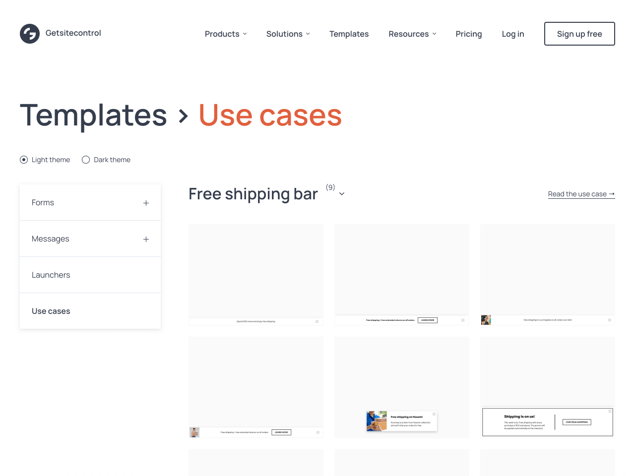 Free shipping bar gallery for Shopify powered by Getsitecontrol