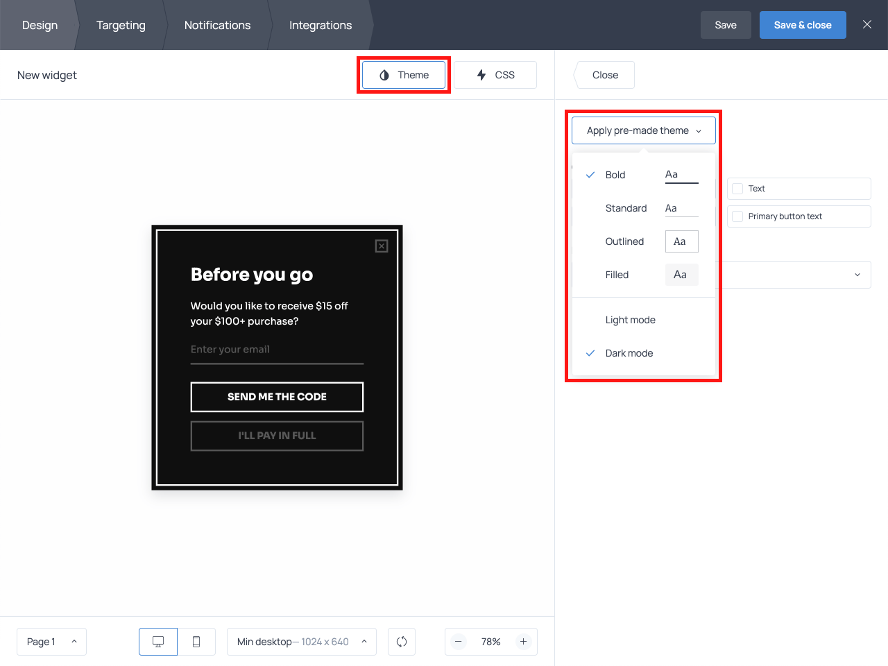 How to adjust the appearance of a popup in Getsitecontrol