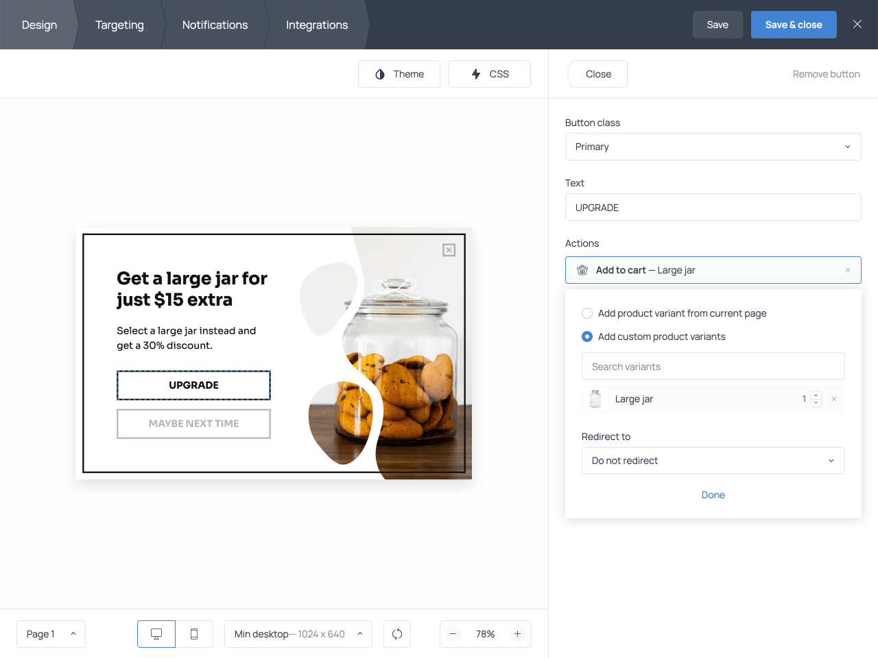 How to design an upsell popup in Getsitecontrol