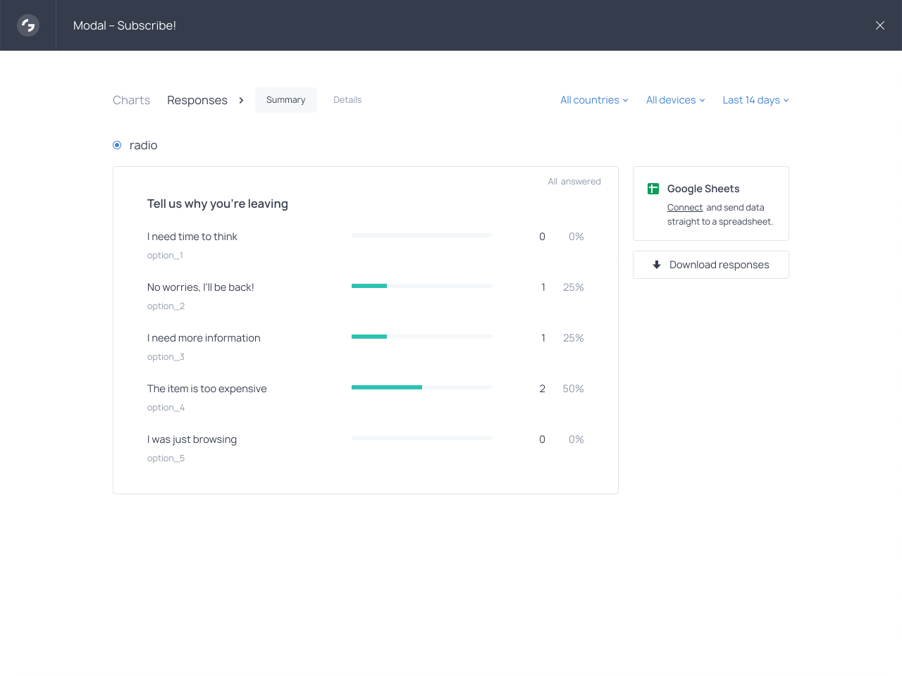 Review survey response statistics right in your Getsitecontrol dashboard
