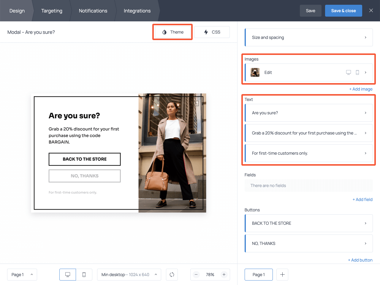 How to edit the content on your exit-intent popup in Getsitecontro