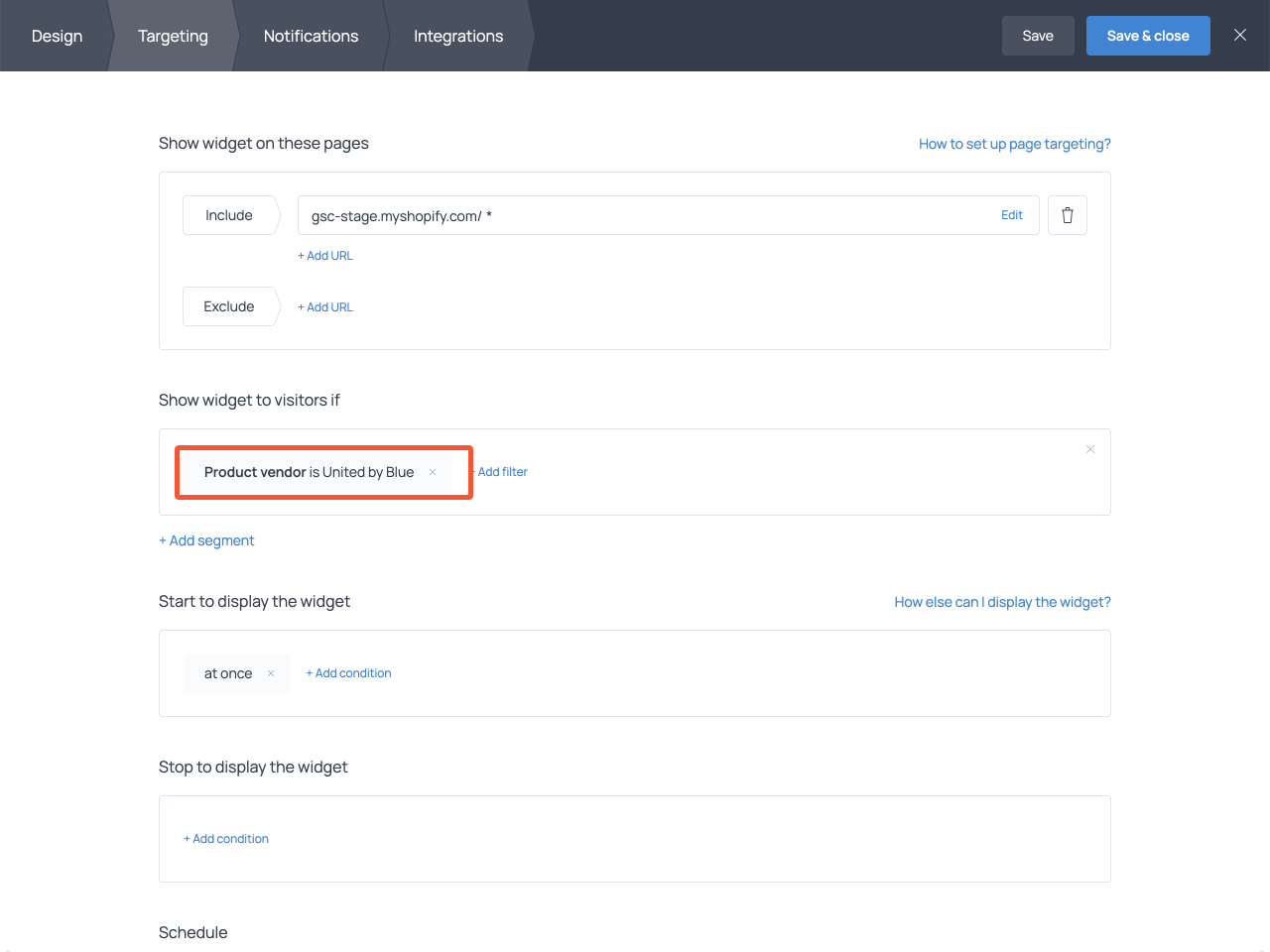 How to set conditions and display a popup on selected Shopify product pages