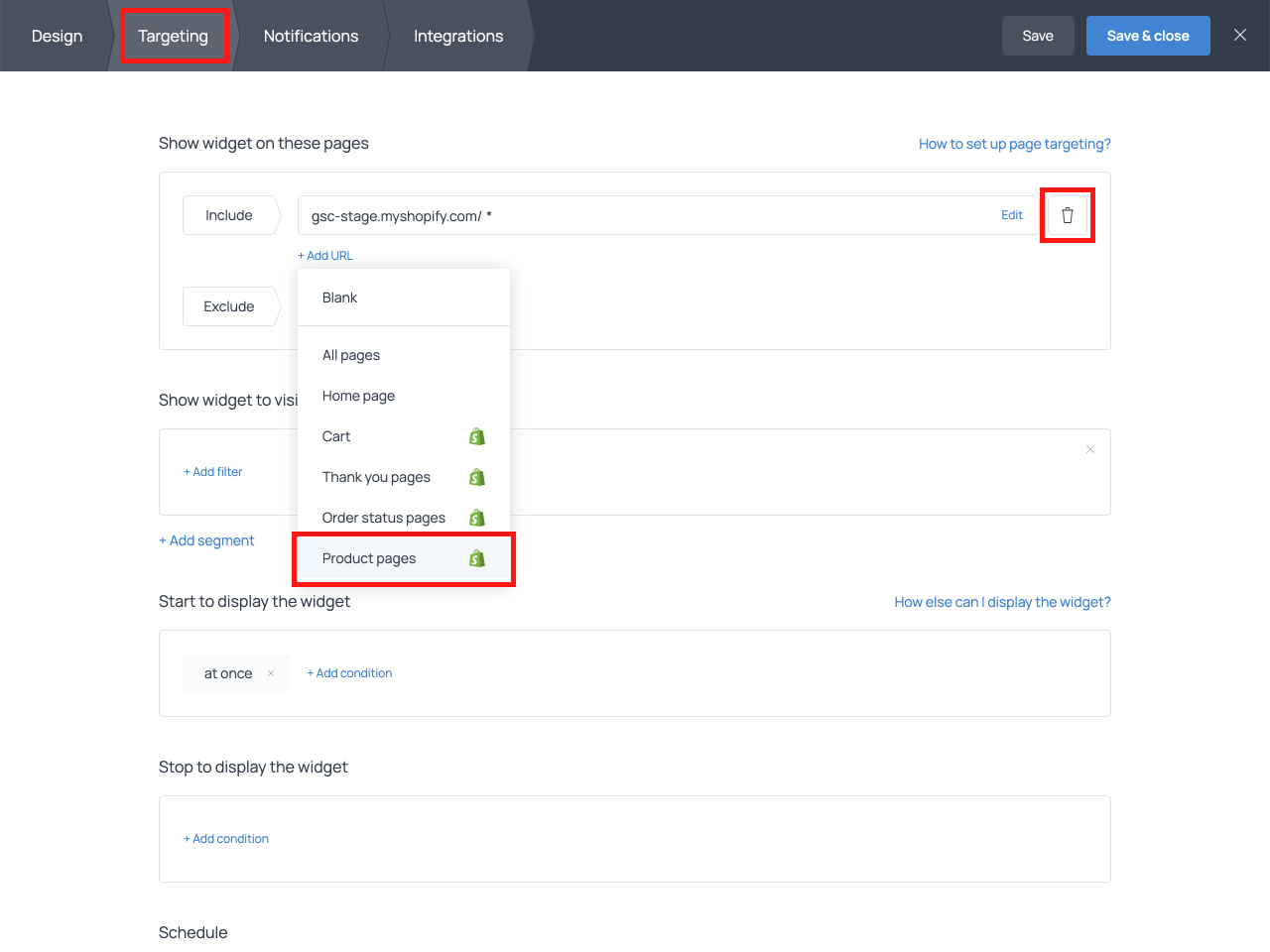 How to use targeting settings for an 'Add to cart' button