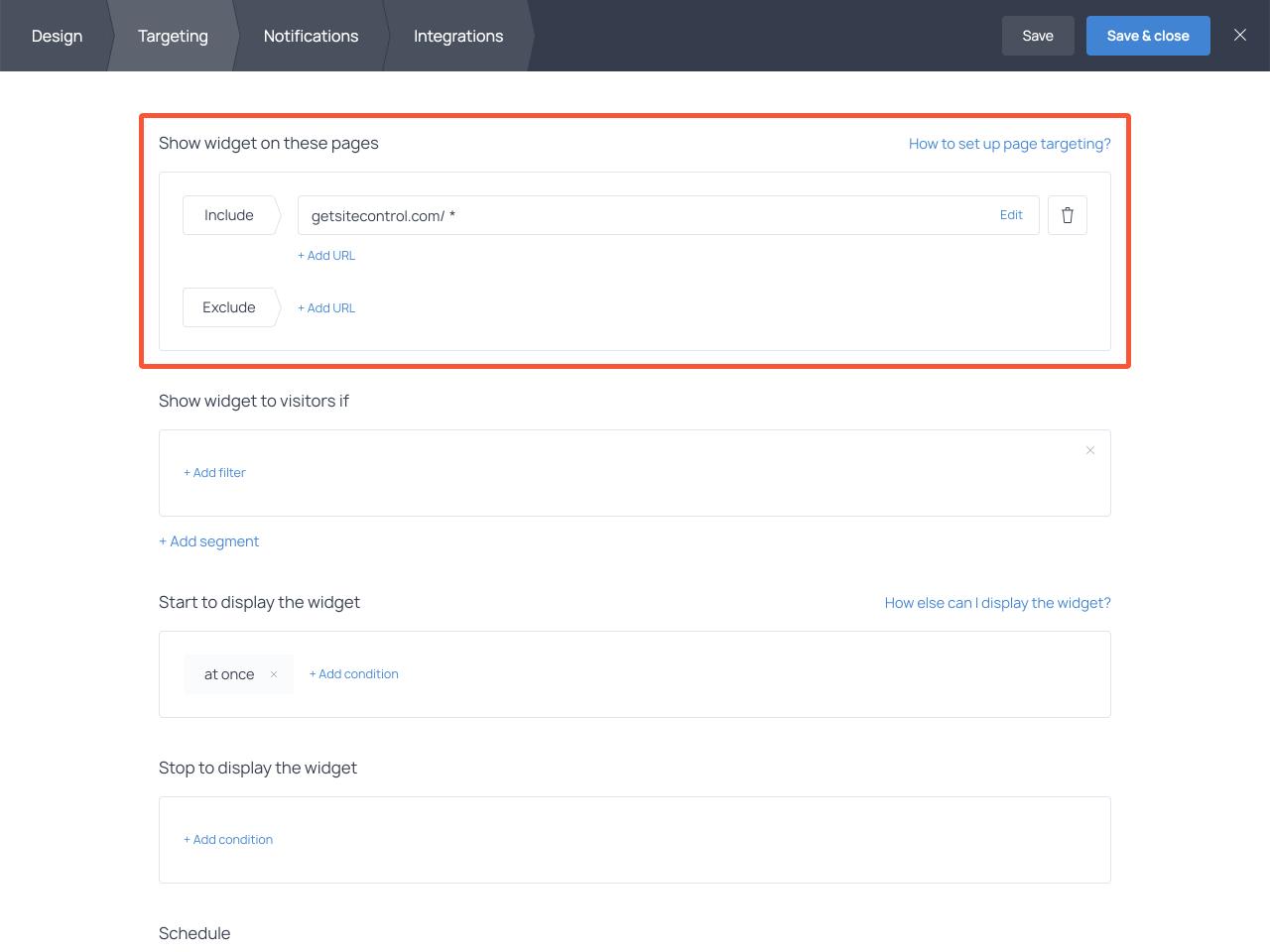Website announcement bar audience targeting settings