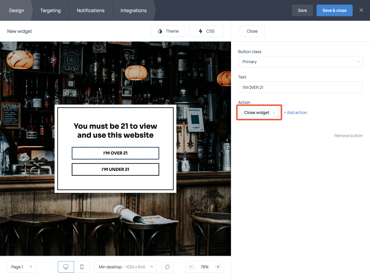 How to set up the required action trigger for the buttons on your age verification popup