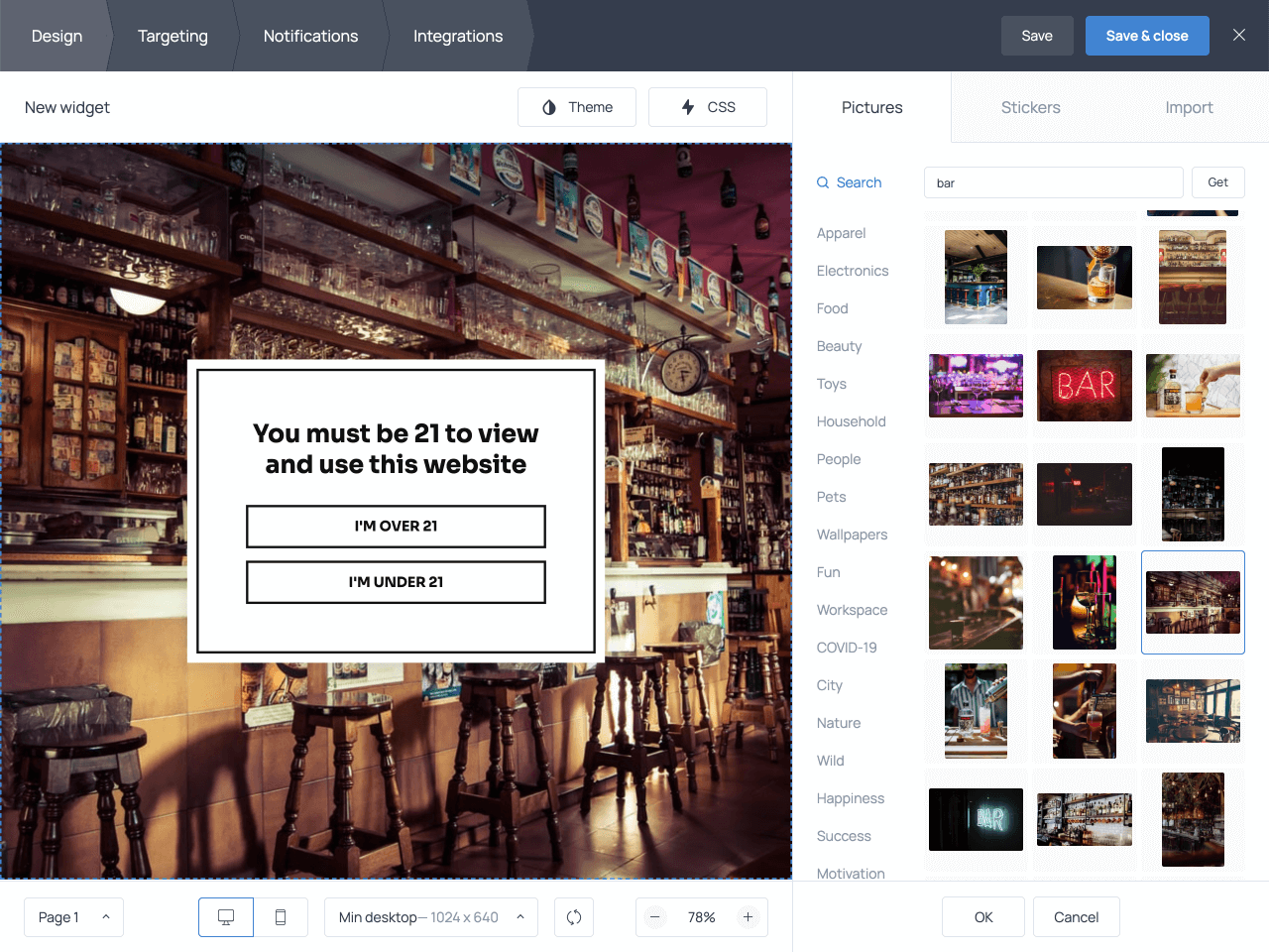 Change background image on your age verification popup template