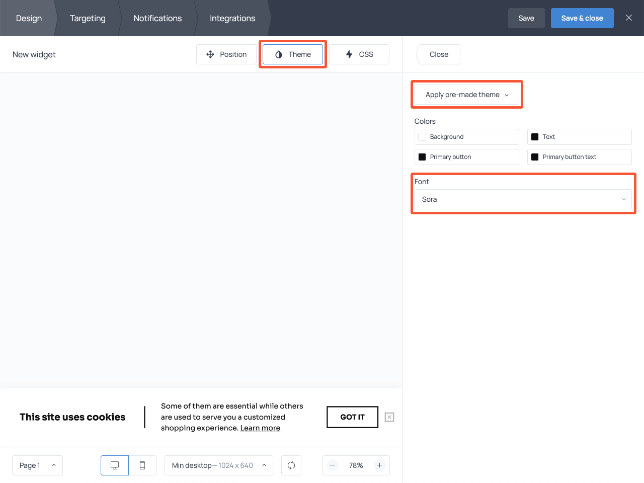 How to edit the appearance of a cookie consent message
