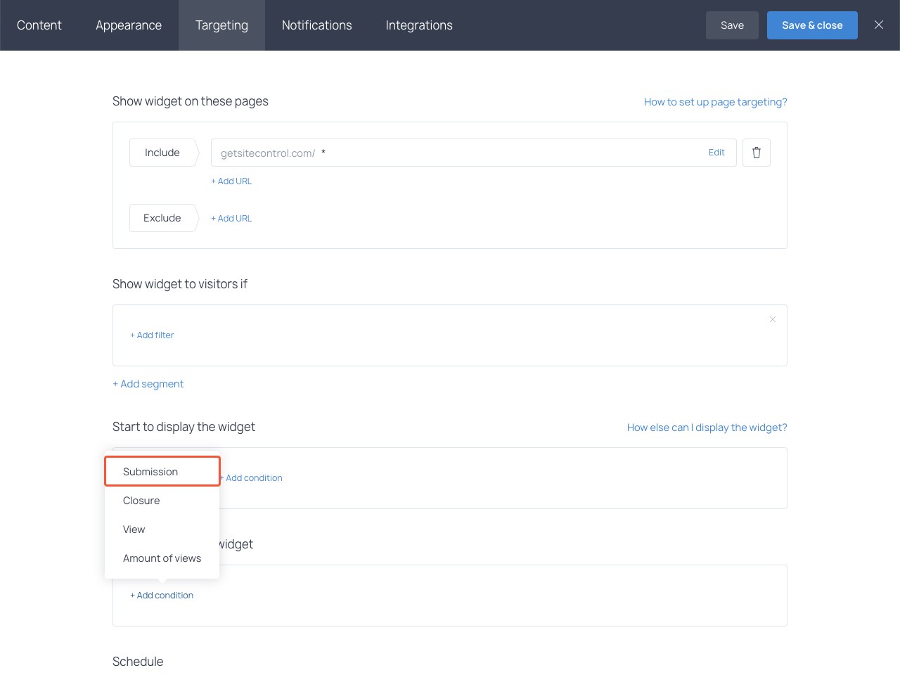 Choosing the Submission option in the Stop to display the widget section