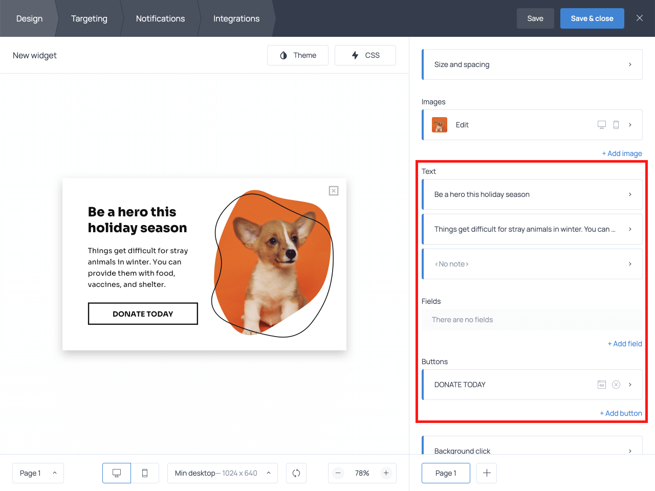 How to edit the copy on the donation popup in Getsitecontrol