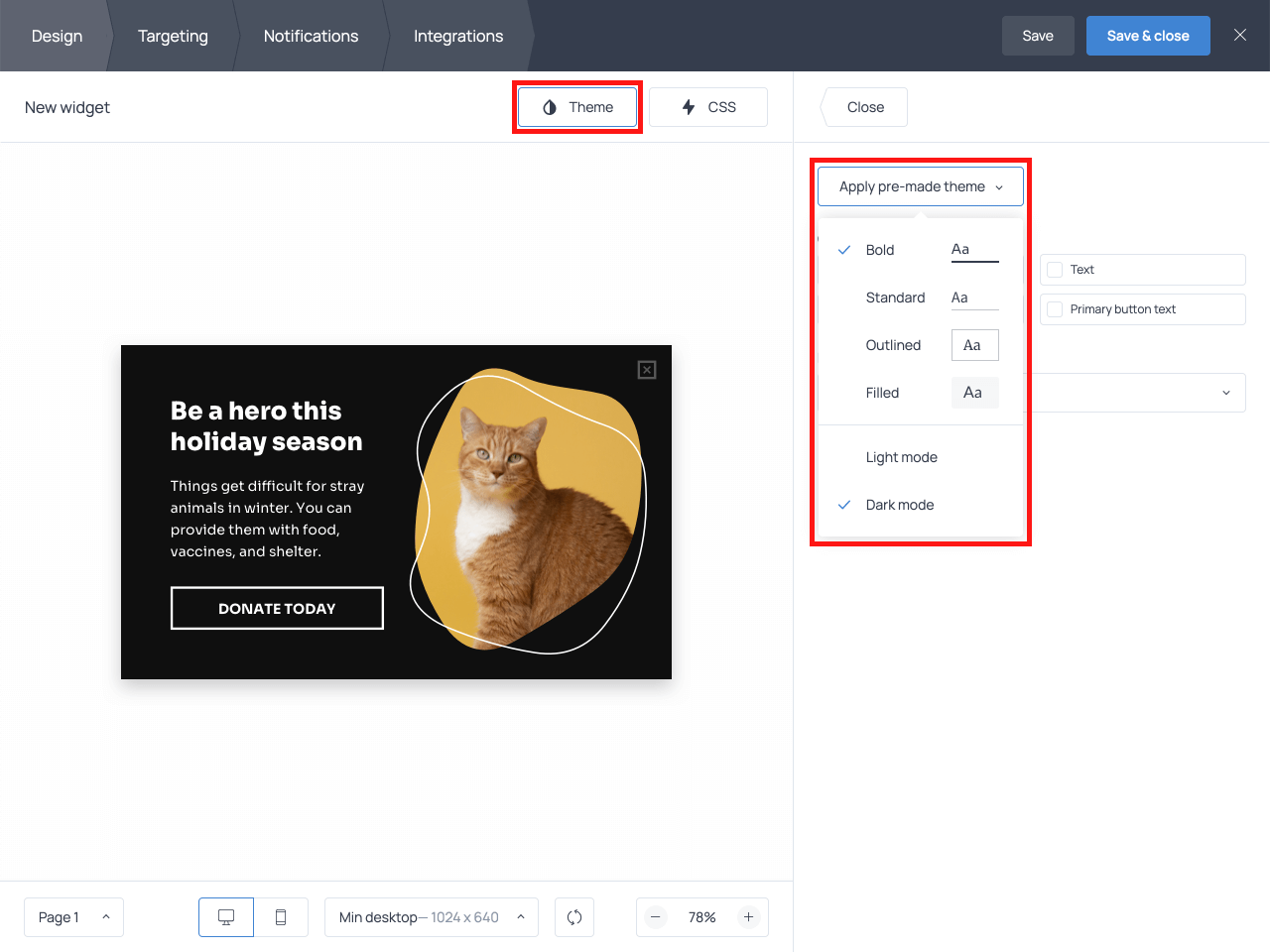 How to customize the design of your donation CTA popup